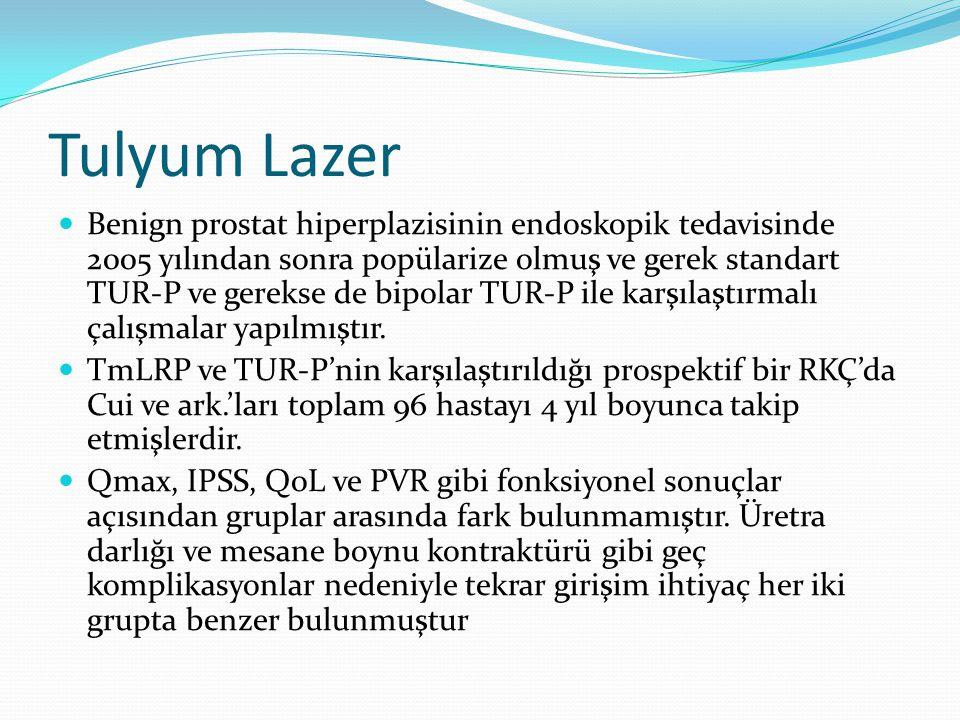 Tulyum Lazer Benign prostat hiperplazisinin endoskopik tedavisinde 2005 yılından sonra popülarize olmuş ve gerek standart TUR-P ve gerekse de bipolar