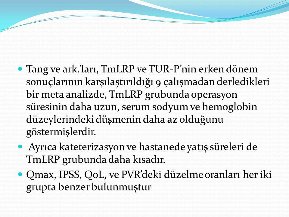 Tang ve ark.'ları, TmLRP ve TUR-P'nin erken dönem sonuçlarının karşılaştırıldığı 9 çalışmadan derledikleri bir meta analizde, TmLRP grubunda operasyon