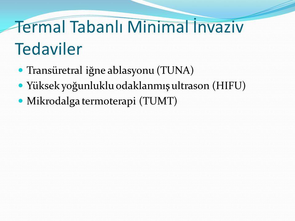 Termal Tabanlı Minimal İnvaziv Tedaviler Transüretral iğne ablasyonu (TUNA) Yüksek yoğunluklu odaklanmış ultrason (HIFU) Mikrodalga termoterapi (TUMT)