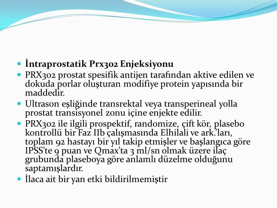 İntraprostatik Prx302 Enjeksiyonu PRX302 prostat spesifik antijen tarafından aktive edilen ve dokuda porlar oluşturan modifiye protein yapısında bir m
