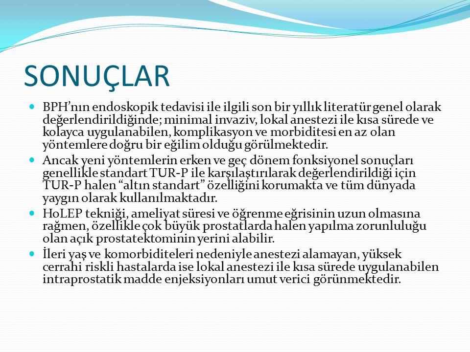 SONUÇLAR BPH'nın endoskopik tedavisi ile ilgili son bir yıllık literatür genel olarak değerlendirildiğinde; minimal invaziv, lokal anestezi ile kısa s