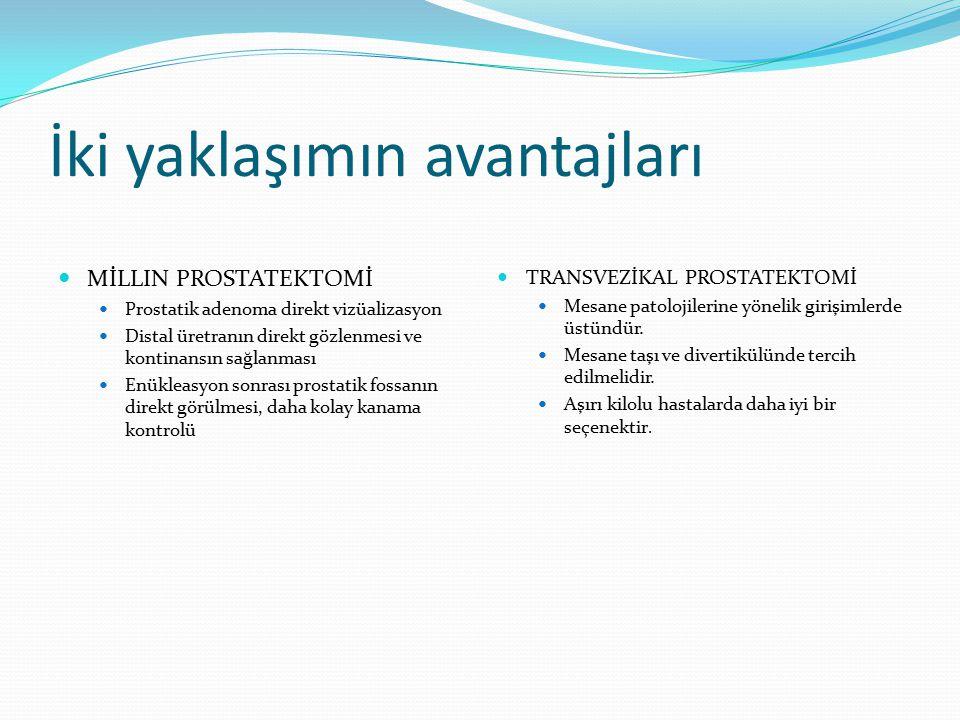 İki yaklaşımın avantajları MİLLIN PROSTATEKTOMİ Prostatik adenoma direkt vizüalizasyon Distal üretranın direkt gözlenmesi ve kontinansın sağlanması En