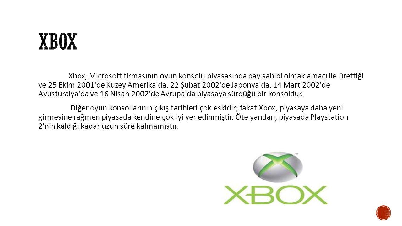 Xbox, Microsoft firmasının oyun konsolu piyasasında pay sahibi olmak amacı ile ürettiği ve 25 Ekim 2001 de Kuzey Amerika da, 22 Şubat 2002 de Japonya da, 14 Mart 2002 de Avusturalya da ve 16 Nisan 2002 de Avrupa da piyasaya sürdüğü bir konsoldur.