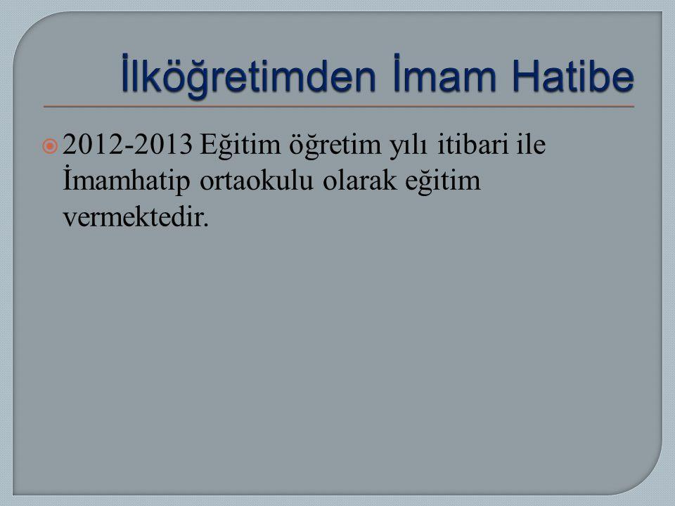  2012-2013 Eğitim öğretim yılı itibari ile İmamhatip ortaokulu olarak eğitim vermektedir.