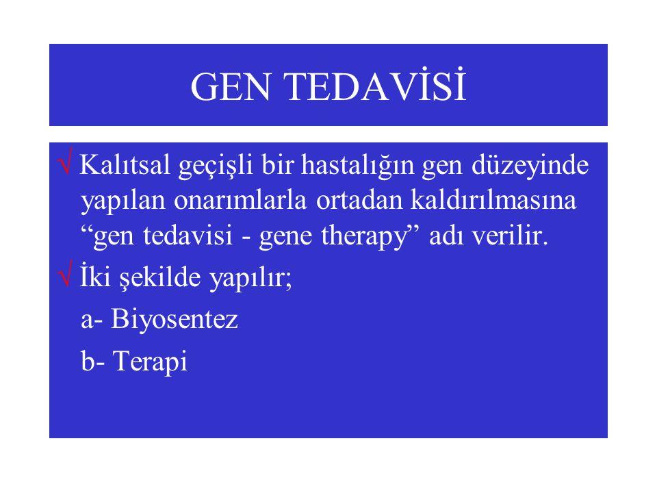 """GEN TEDAVİSİ  Kalıtsal geçişli bir hastalığın gen düzeyinde yapılan onarımlarla ortadan kaldırılmasına """"gen tedavisi - gene therapy"""" adı verilir.  İ"""