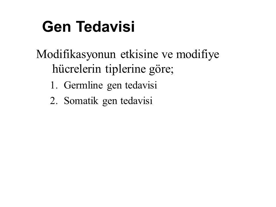 Modifikasyonun etkisine ve modifiye hücrelerin tiplerine göre; 1.Germline gen tedavisi 2.Somatik gen tedavisi Gen Tedavisi