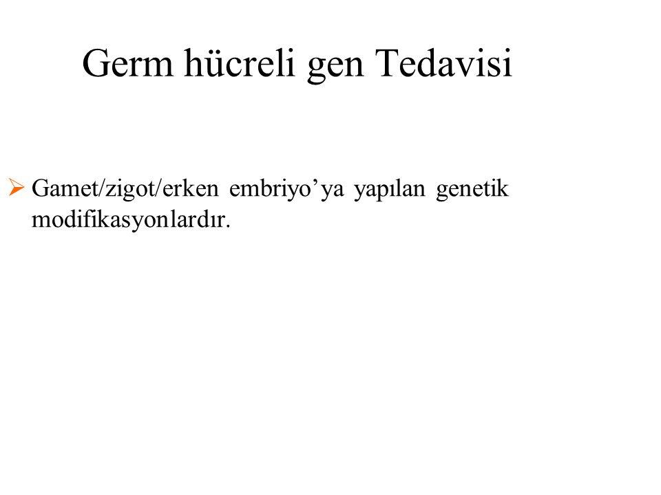 Germ hücreli gen Tedavisi  Gamet/zigot/erken embriyo'ya yapılan genetik modifikasyonlardır.