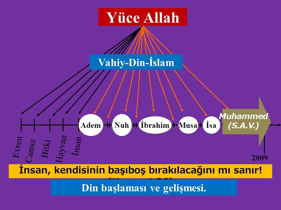 Yüce Allah AdemNuh İbrahimMusaİsa 2009 Evren Cansız Bitki Hayvan İnsan Muhammed (S.A.V.) Vahiy-Din-İslam İnsan, kendisinin başıboş bırakılacağını mı s