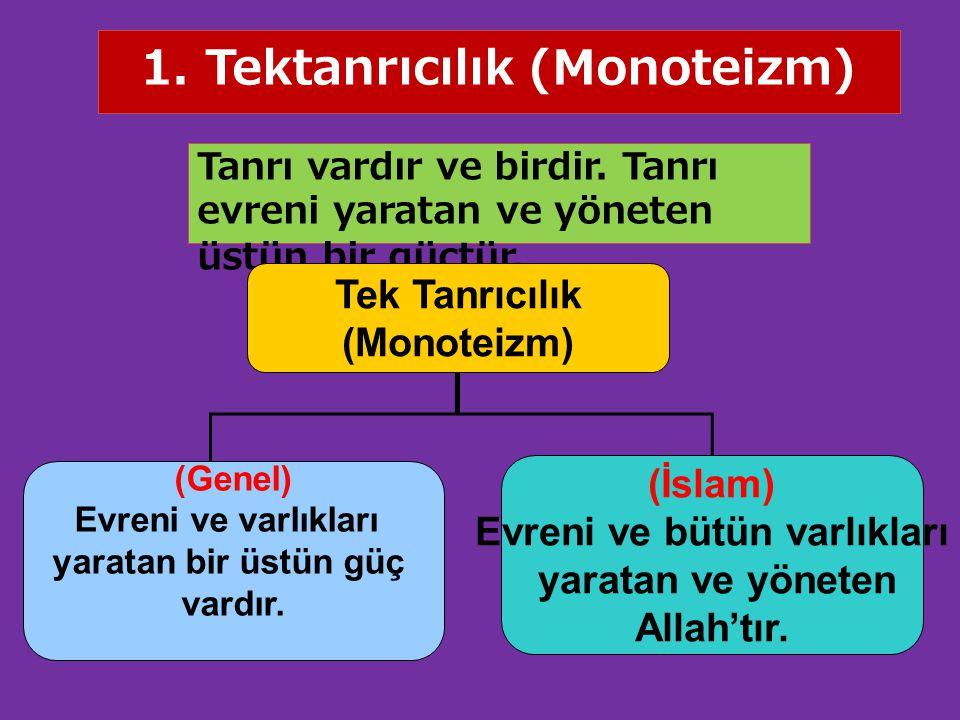 1. Tektanrıcılık (Monoteizm) Tanrı vardır ve birdir. Tanrı evreni yaratan ve yöneten üstün bir güçtür. Tek Tanrıcılık (Monoteizm) (Genel) Evreni ve va