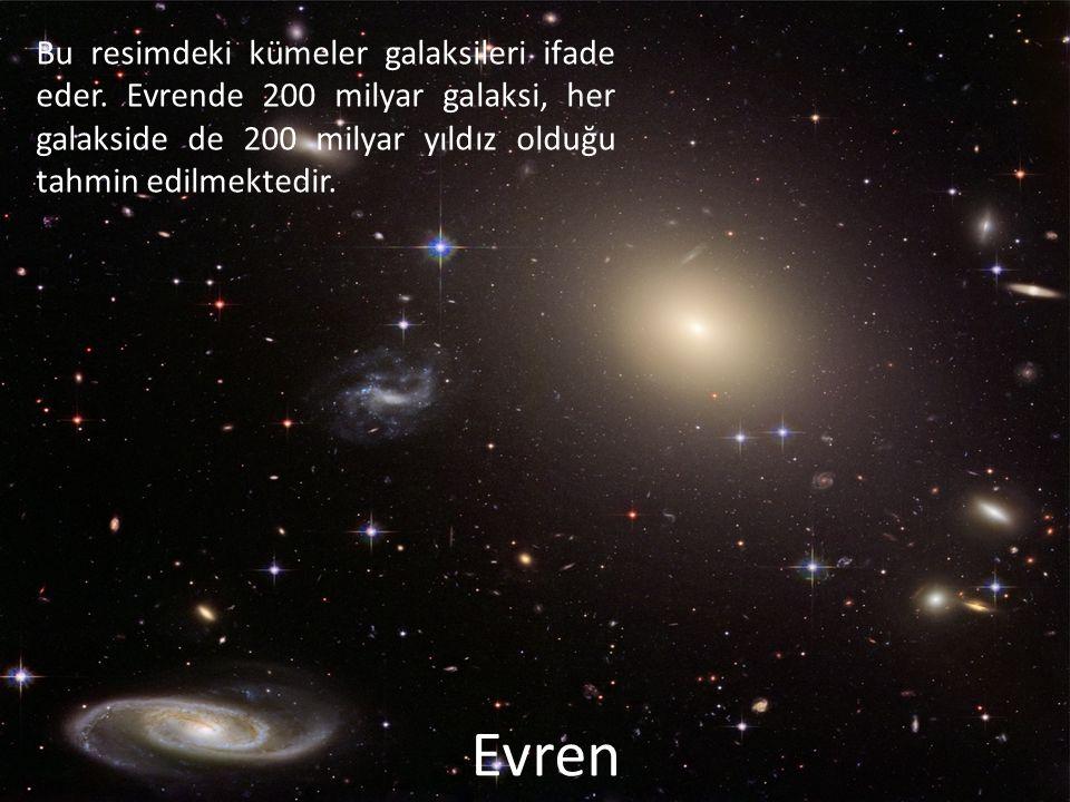 Bu resimdeki kümeler galaksileri ifade eder. Evrende 200 milyar galaksi, her galakside de 200 milyar yıldız olduğu tahmin edilmektedir. Evren