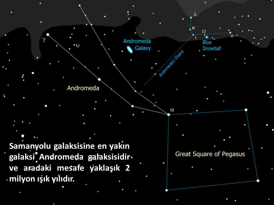Samanyolu galaksisine en yakın galaksi Andromeda galaksisidir ve aradaki mesafe yaklaşık 2 milyon ışık yılıdır.