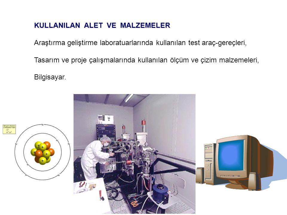 KULLANILAN ALET VE MALZEMELER Araştırma geliştirme laboratuarlarında kullanılan test araç-gereçleri, Tasarım ve proje çalışmalarında kullanılan ölçüm