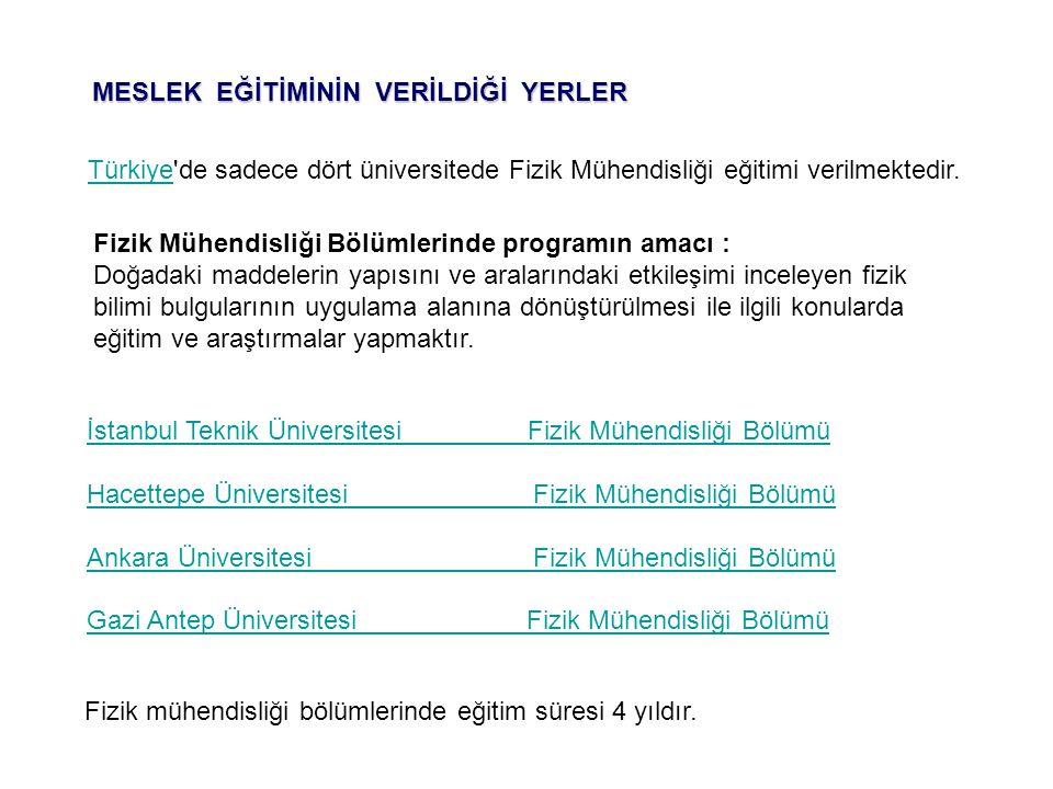 TürkiyeTürkiye'de sadece dört üniversitede Fizik Mühendisliği eğitimi verilmektedir. İstanbul Teknik Üniversitesi Fizik Mühendisliği Bölümü Hacettepe