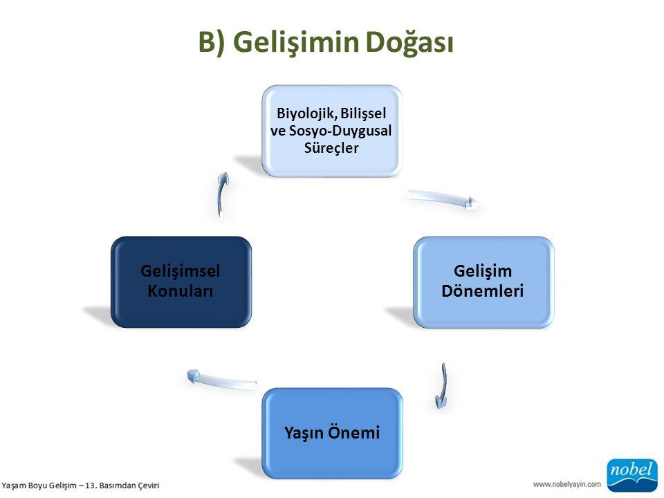 B) Gelişimin Doğası Biyolojik, Bilişsel ve Sosyo-Duygusal Süreçler Gelişim Dönemleri Yaşın Önemi Gelişimsel Konuları