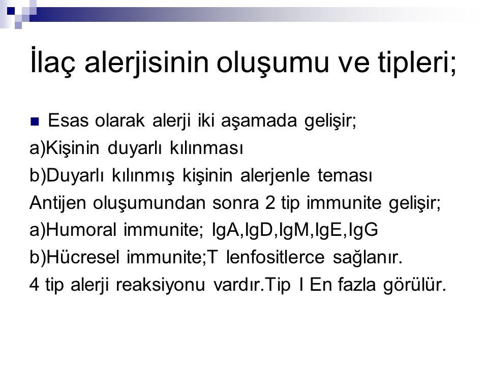 İlaç alerjisinin oluşumu ve tipleri; Esas olarak alerji iki aşamada gelişir; a)Kişinin duyarlı kılınması b)Duyarlı kılınmış kişinin alerjenle teması A