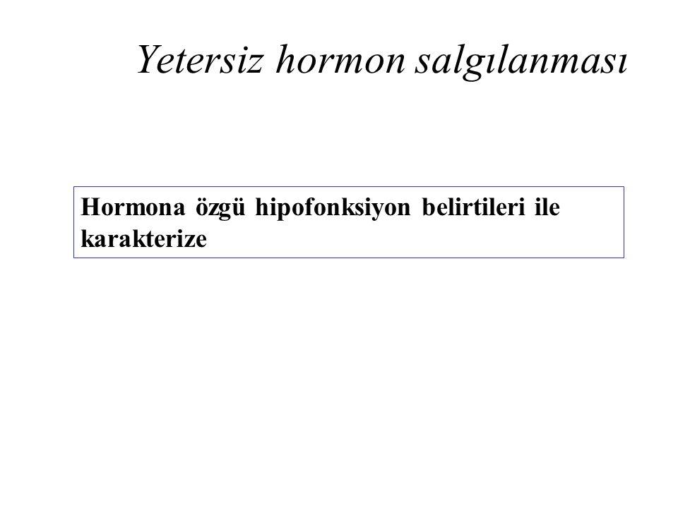 Yetersiz hormon salgılanması Hormona özgü hipofonksiyon belirtileri ile karakterize