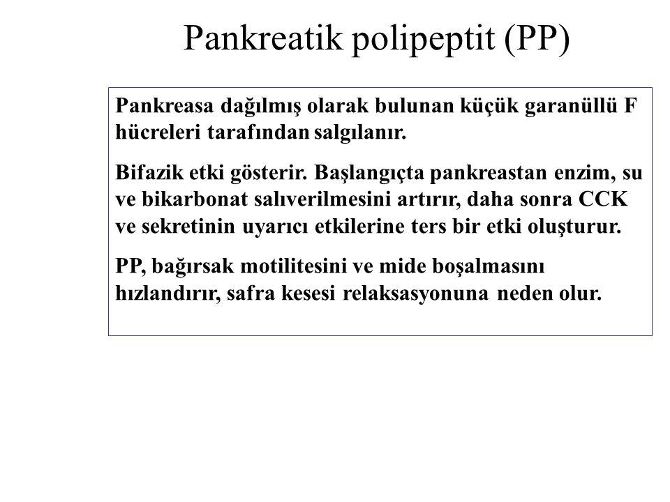 Pankreatik polipeptit (PP) Pankreasa dağılmış olarak bulunan küçük garanüllü F hücreleri tarafından salgılanır. Bifazik etki gösterir. Başlangıçta pan