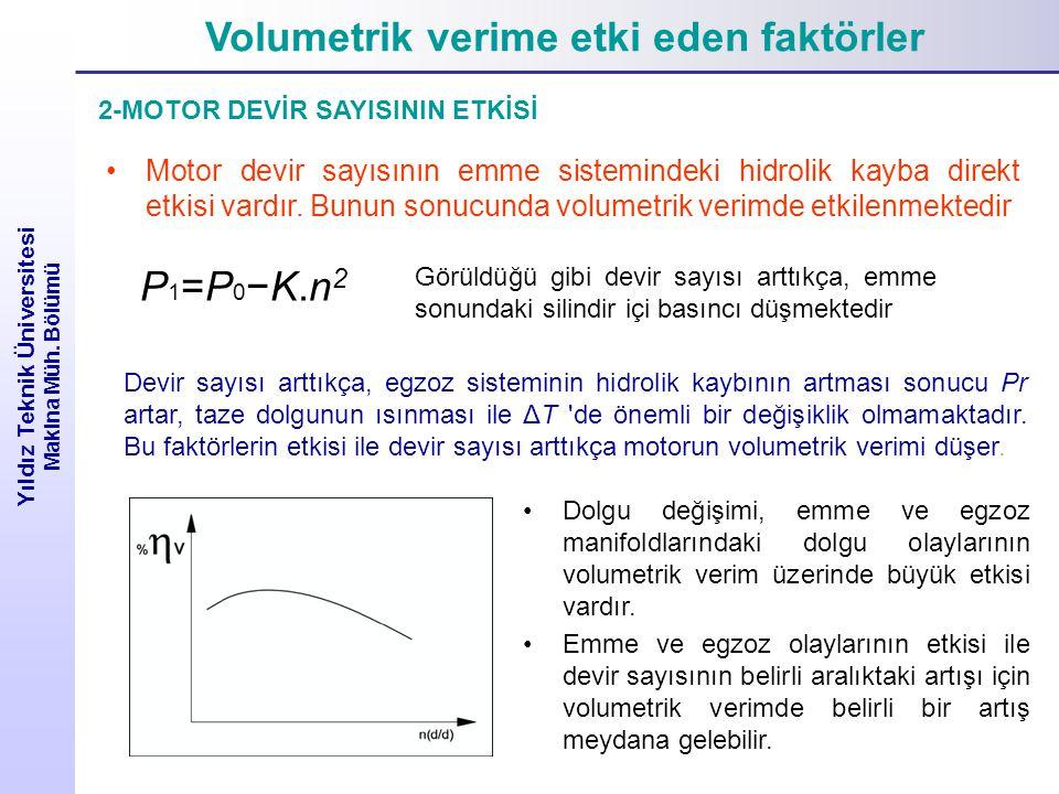 Volumetrik verime etki eden faktörler Yıldız Teknik Üniversitesi Makina Müh. Bölümü Görüldüğü gibi devir sayısı arttıkça, emme sonundaki silindir içi