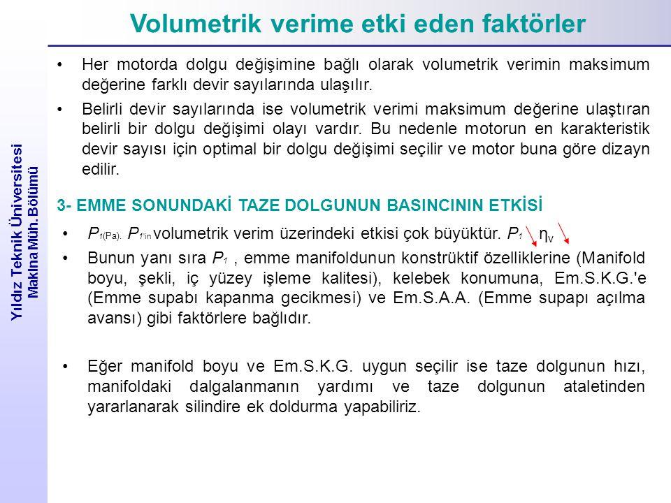 Volumetrik verime etki eden faktörler Yıldız Teknik Üniversitesi Makina Müh. Bölümü Her motorda dolgu değişimine bağlı olarak volumetrik verimin maksi
