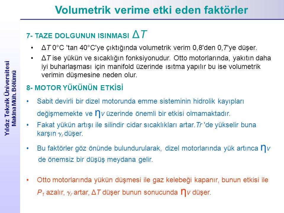 Volumetrik verime etki eden faktörler Yıldız Teknik Üniversitesi Makina Müh. Bölümü 7- TAZE DOLGUNUN ISINMASI ΔT ΔT 0°C 'tan 40°C'ye çıktığında volume