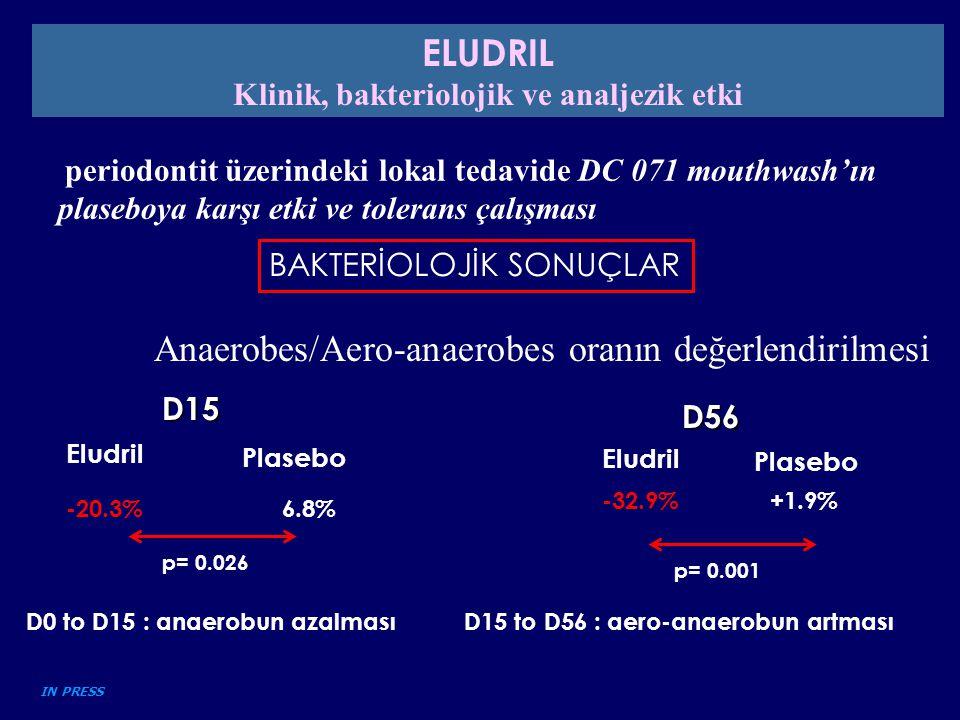 periodontit üzerindeki lokal tedavide DC 071 mouthwash'ın plaseboya karşı etki ve tolerans çalışması BAKTERİOLOJİK SONUÇLAR Anaerobes/Aero-anaerobes o