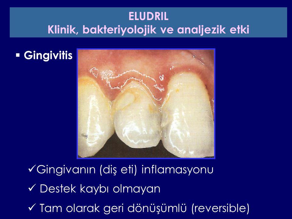  Gingivitis Gingivanın (diş eti) inflamasyonu Destek kaybı olmayan Tam olarak geri dönüşümlü (reversible) ELUDRIL Klinik, bakteriyolojik ve analjezik