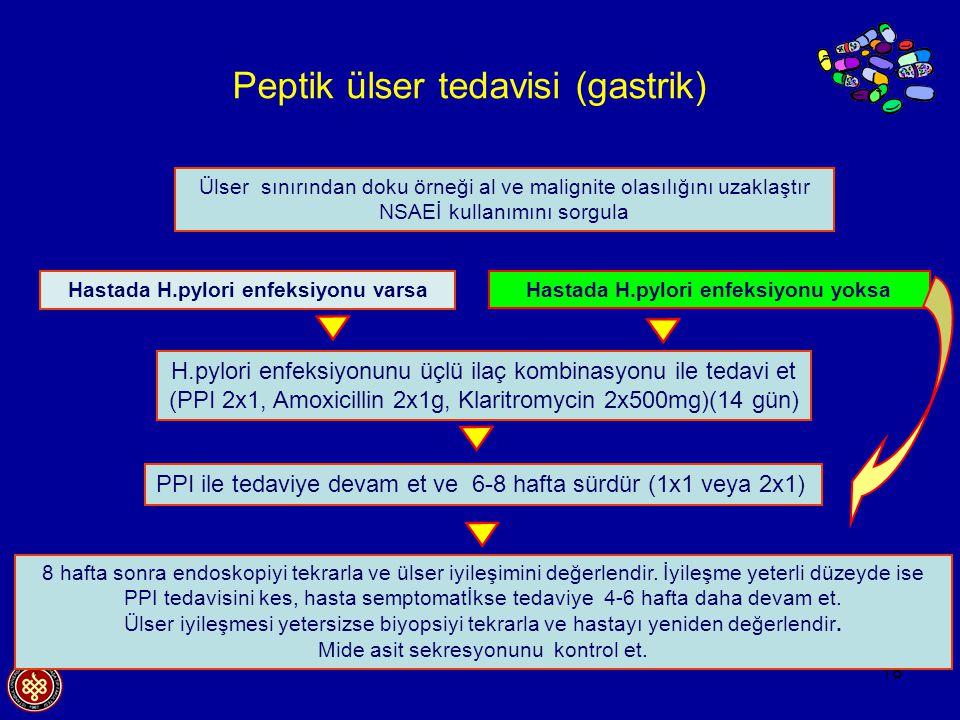 18 Peptik ülser tedavisi (gastrik) PPI ile tedaviye devam et ve 6-8 hafta sürdür (1x1 veya 2x1) H.pylori enfeksiyonunu üçlü ilaç kombinasyonu ile teda