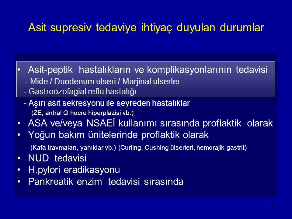 2 Asit supresiv tedaviye ihtiyaç duyulan durumlar Asit-peptik hastalıkların ve komplikasyonlarının tedavisi - Mide / Duodenum ülseri / Marjinal ülserl