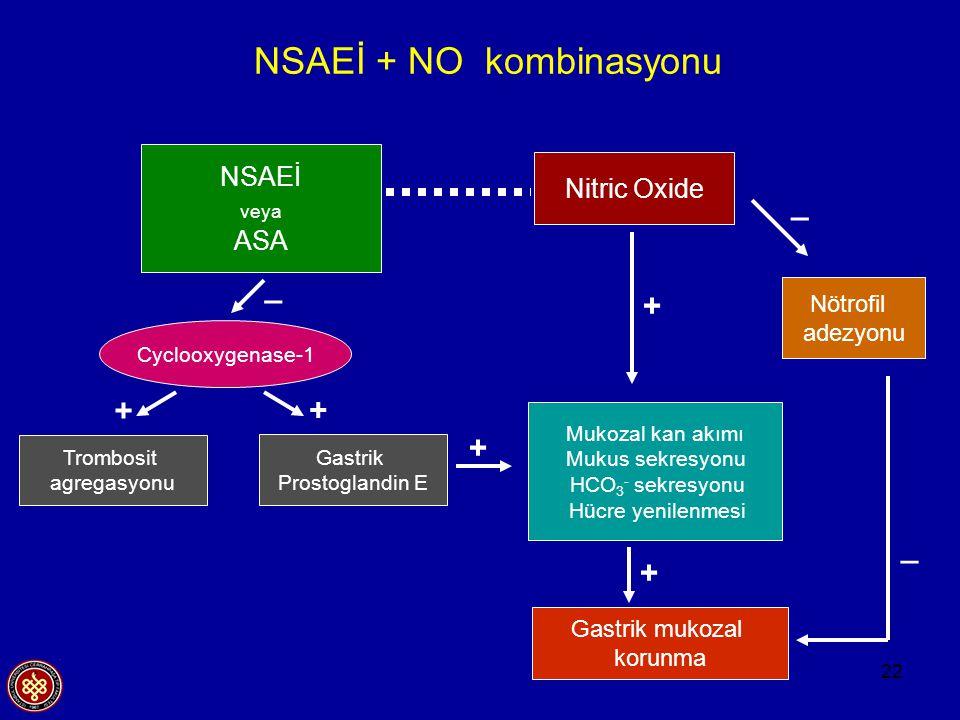 22 NSAEİ + NO kombinasyonu NSAEİ veya ASA Nitric Oxide Nötrofil adezyonu Mukozal kan akımı Mukus sekresyonu HCO 3 - sekresyonu Hücre yenilenmesi Gastr