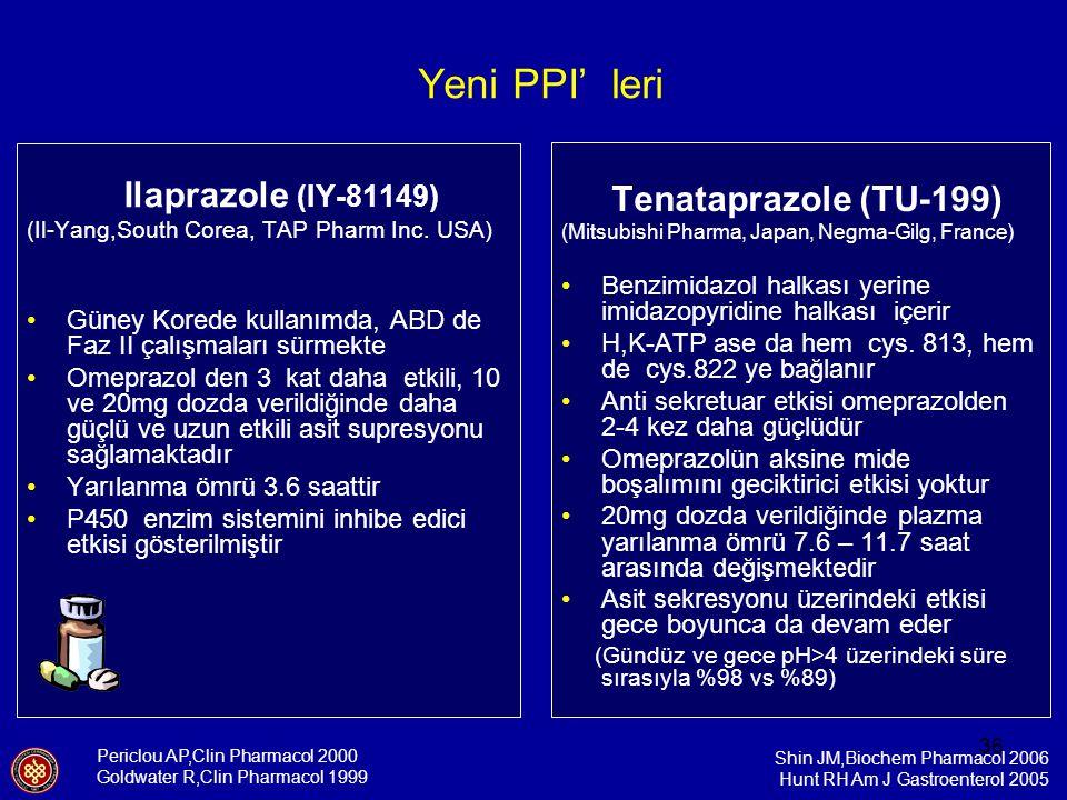 36 Ilaprazole (IY-81149) (Il-Yang,South Corea, TAP Pharm Inc. USA) Güney Korede kullanımda, ABD de Faz II çalışmaları sürmekte Omeprazol den 3 kat dah