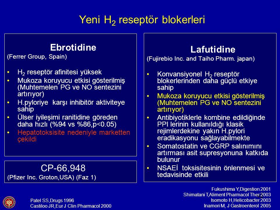 42 Ebrotidine (Ferrer Group, Spain) H 2 reseptör afinitesi yüksek Mukoza koruyucu etkisi gösterilmiş (Muhtemelen PG ve NO sentezini artırıyor) H.pylor