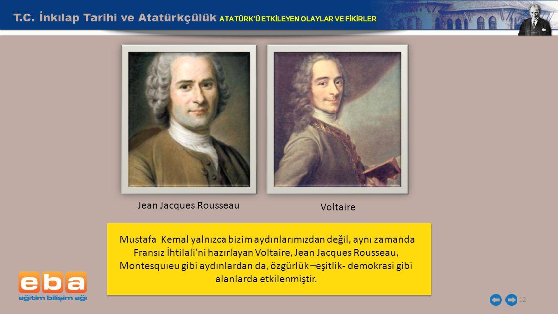 T.C. İnkılap Tarihi ve Atatürkçülük ATATÜRK'Ü ETKİLEYEN OLAYLAR VE FİKİRLER 12 Voltaire Jean Jacques Rousseau Mustafa Kemal yalnızca bizim aydınlarımı