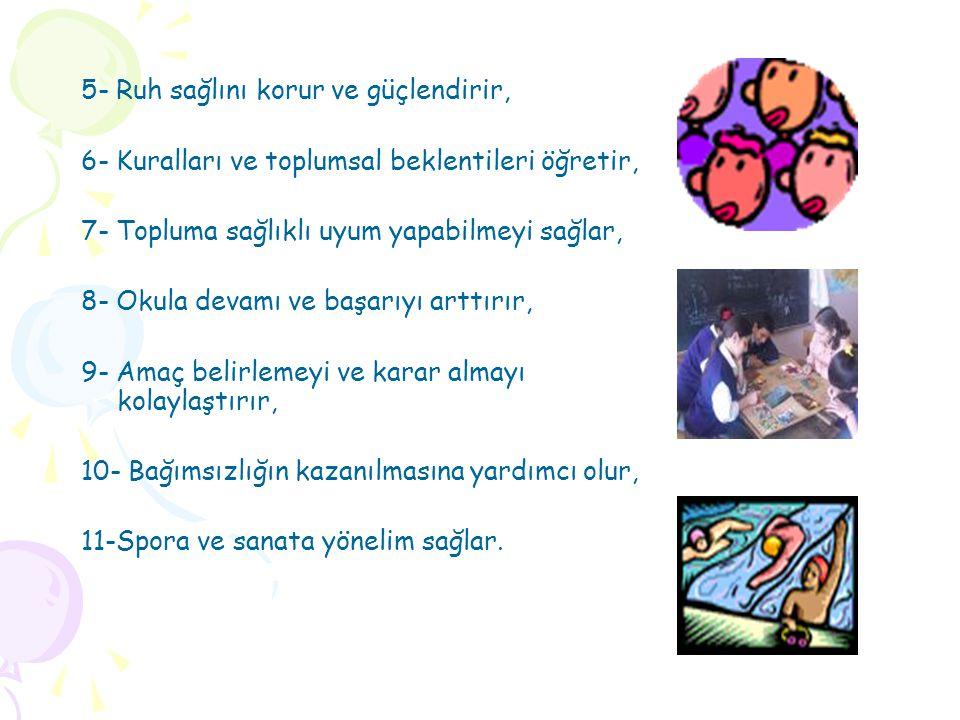 5- Ruh sağlını korur ve güçlendirir, 6- Kuralları ve toplumsal beklentileri öğretir, 7- Topluma sağlıklı uyum yapabilmeyi sağlar, 8- Okula devamı ve b