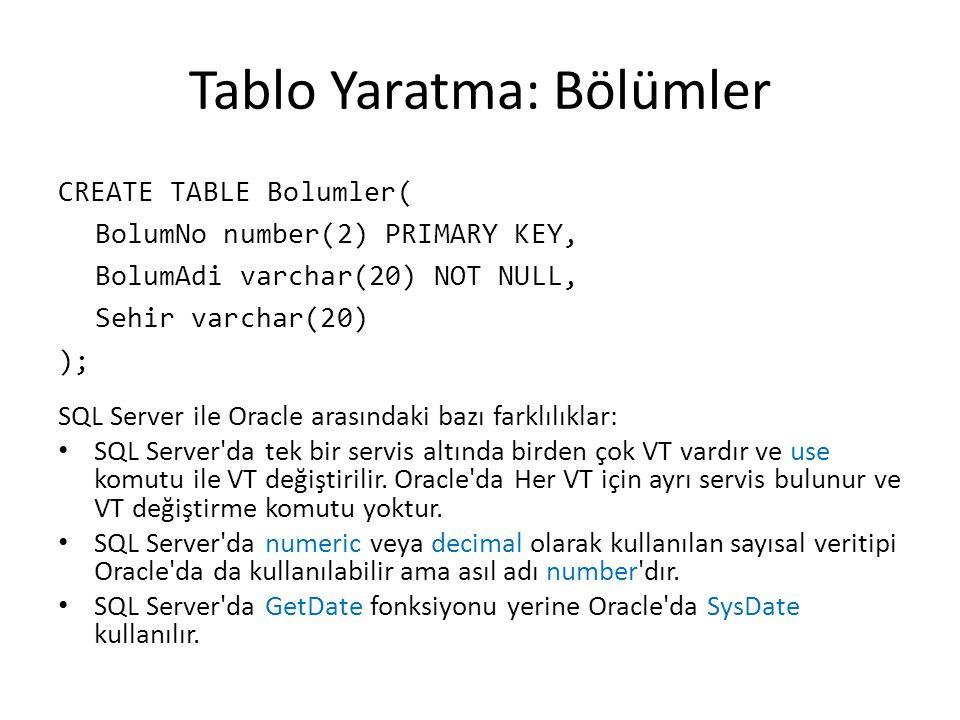 Tablo Yaratma: Personel CREATE TABLE Personel( PerNo number CONSTRAINT pk_Personel PRIMARY KEY, Ad varchar(10) CONSTRAINT nn_Ad NOT NULL, Soyad varchar(10) CONSTRAINT nn_Soyad NOT NULL CONSTRAINT upper_Soyad CHECK(Soyad=UPPER(Soyad)), Gorev varchar(9), Yonetici number CONSTRAINT fk_yonetici REFERENCES Personel(PerNo), BaslamaTarihi date DEFAULT sysdate, Maas number(10,2) CONSTRAINT ck_Maas CHECK(Maas>900), Komisyon number(9,0) DEFAULT NULL, BolumNo number(2) CONSTRAINT nn_BolumNo NOT NULL CONSTRAINT fk_BolumNo REFERENCES Bolum(Bolum_No) ); Buraya ON DELETE CASCADE yazılırsa bir bölüm silindiğinde o bölümdeki tüm personel de (yani çocuk kayıtlar) silinir