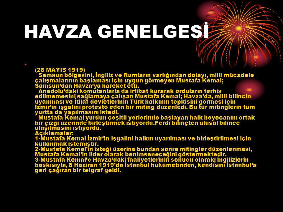 HAVZA GENELGESİ (28 MAYIS 1919) Samsun bölgesini, İngiliz ve Rumların varlığından dolayı, milli mücadele çalışmalarının başlaması için uygun görmeyen