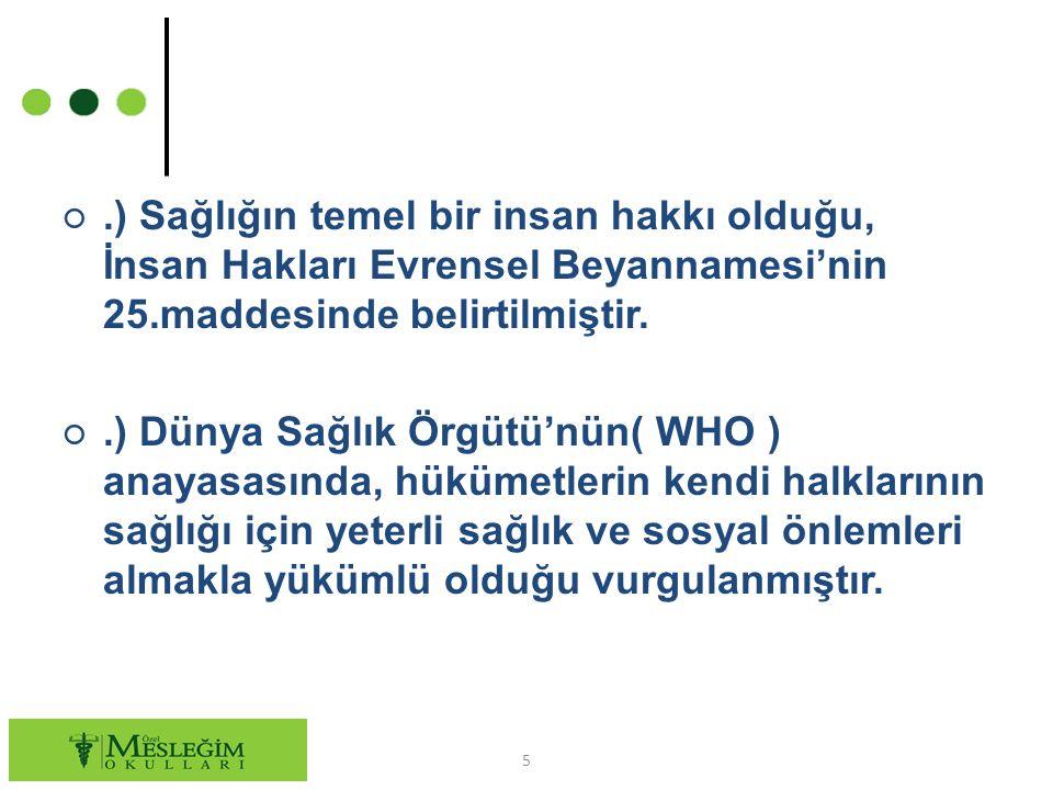 ○.) Sağlığın temel bir insan hakkı olduğu, İnsan Hakları Evrensel Beyannamesi'nin 25.maddesinde belirtilmiştir.