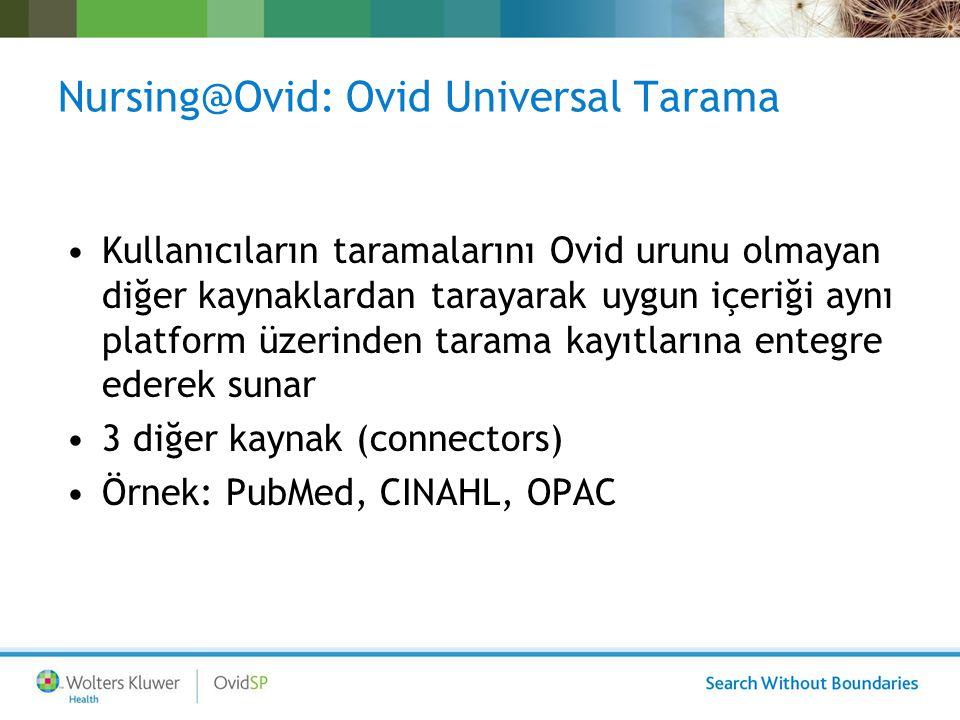 Nursing@Ovid: Ovid Universal Tarama Kullanıcıların taramalarını Ovid urunu olmayan diğer kaynaklardan tarayarak uygun içeriği aynı platform üzerinden