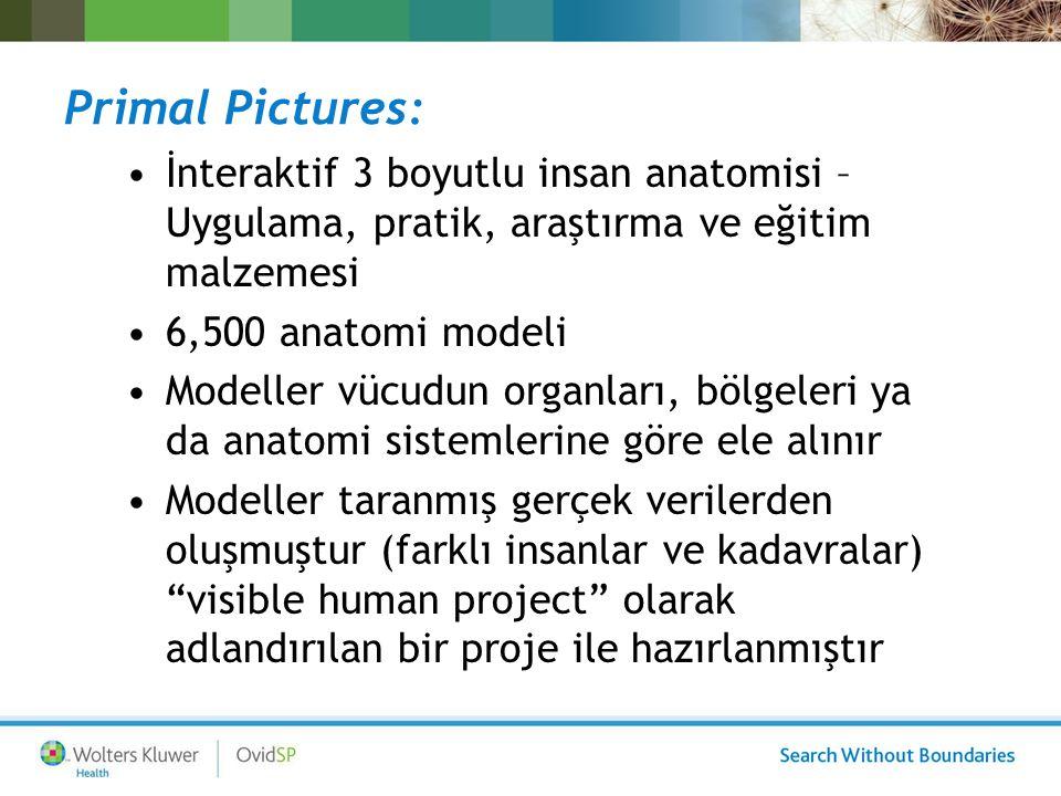 Primal Pictures: İnteraktif 3 boyutlu insan anatomisi – Uygulama, pratik, araştırma ve eğitim malzemesi 6,500 anatomi modeli Modeller vücudun organlar
