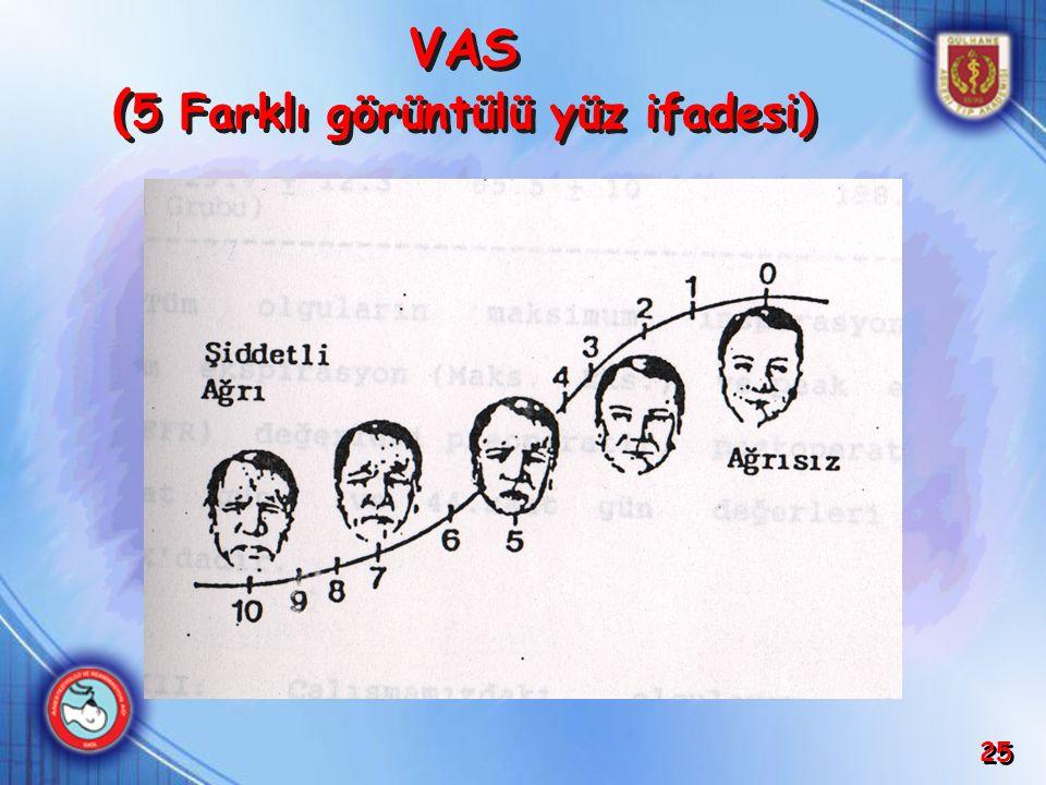25 VAS ( 5 Farklı görüntülü yüz ifadesi)