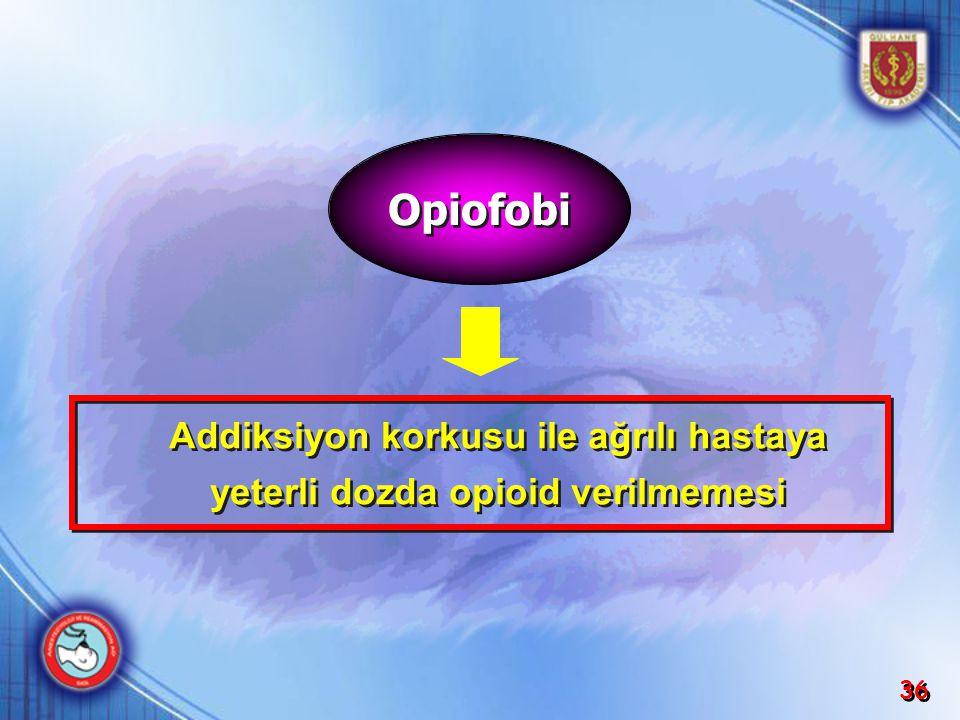 36 Addiksiyon korkusu ile ağrılı hastaya yeterli dozda opioid verilmemesi Addiksiyon korkusu ile ağrılı hastaya yeterli dozda opioid verilmemesi Opiof