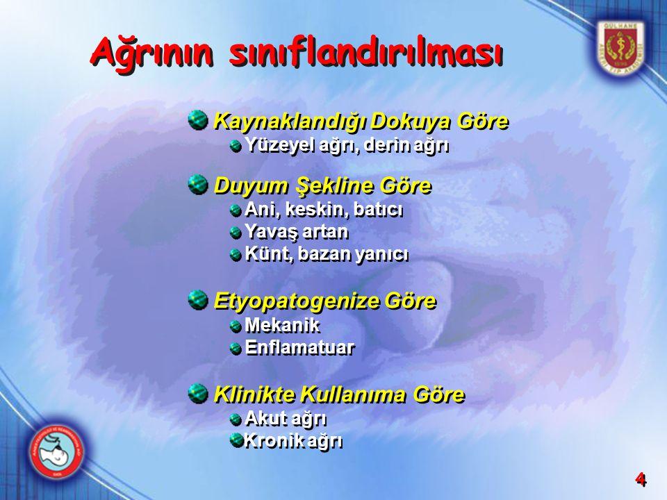 4 Kaynaklandığı Dokuya Göre Yüzeyel ağrı, derin ağrı Duyum Şekline Göre Ani, keskin, batıcı Yavaş artan Künt, bazan yanıcı Etyopatogenize Göre Mekanik