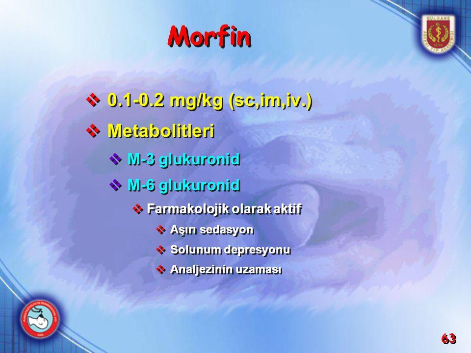 63 Morfin  0.1-0.2 mg/kg (sc,im,iv.)  Metabolitleri  M-3 glukuronid  M-6 glukuronid  Farmakolojik olarak aktif  Aşırı sedasyon  Solunum depresy