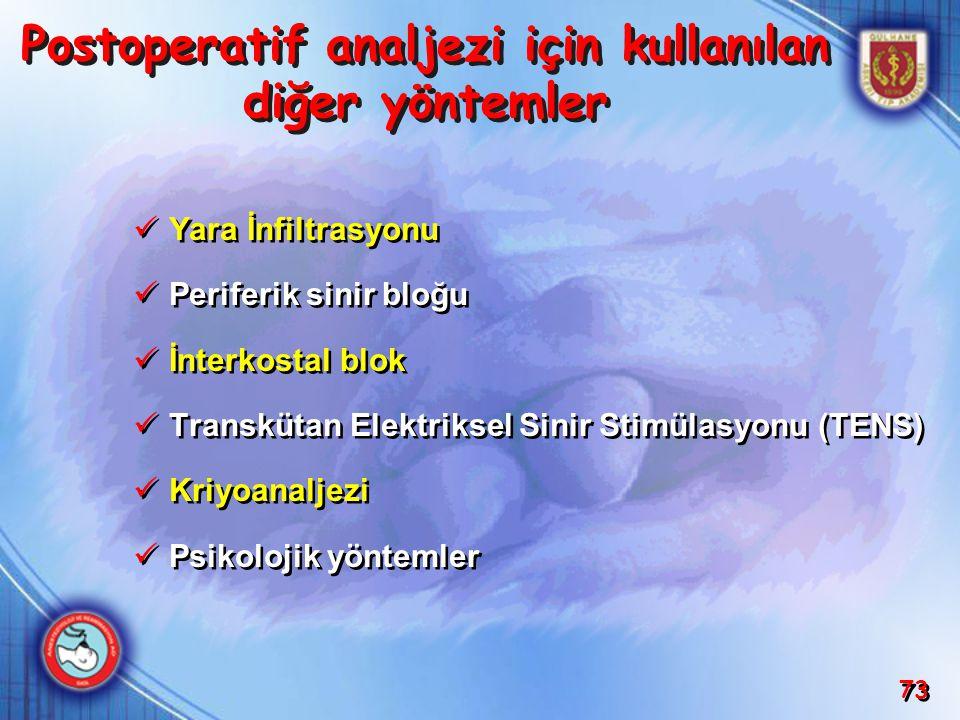 73 Yara İnfiltrasyonu Periferik sinir bloğu İnterkostal blok Transkütan Elektriksel Sinir Stimülasyonu (TENS) Kriyoanaljezi Psikolojik yöntemler Yara