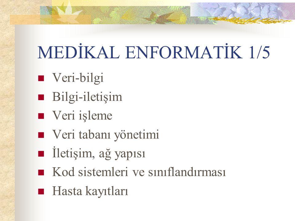 MEDİKAL ENFORMATİK 1/5 Veri-bilgi Bilgi-iletişim Veri işleme Veri tabanı yönetimi İletişim, ağ yapısı Kod sistemleri ve sınıflandırması Hasta kayıtlar
