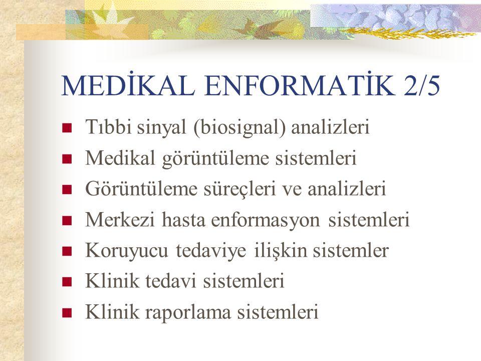 MEDİKAL ENFORMATİK 2/5 Tıbbi sinyal (biosignal) analizleri Medikal görüntüleme sistemleri Görüntüleme süreçleri ve analizleri Merkezi hasta enformasyo