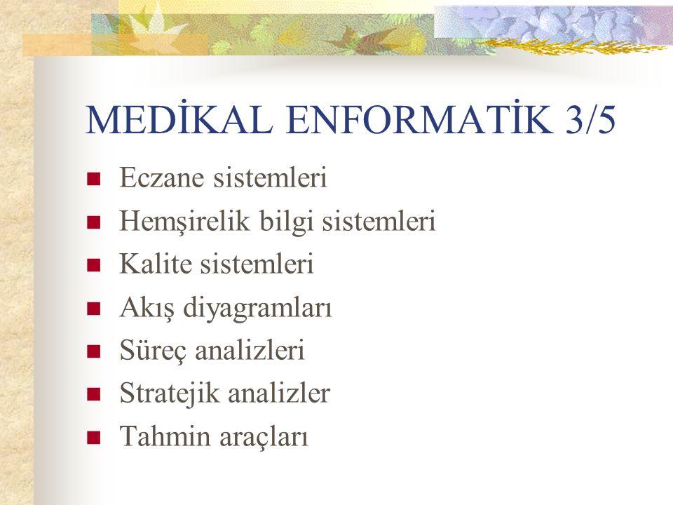 MEDİKAL ENFORMATİK 3/5 Eczane sistemleri Hemşirelik bilgi sistemleri Kalite sistemleri Akış diyagramları Süreç analizleri Stratejik analizler Tahmin a