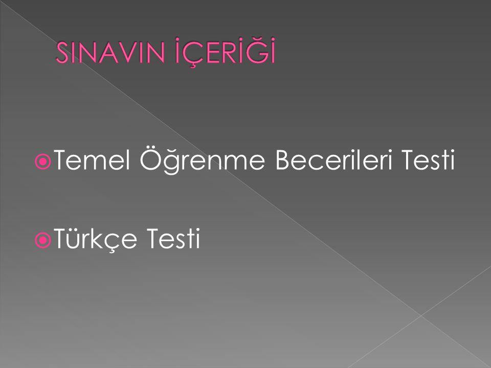  Temel Öğrenme Becerileri Testi  Türkçe Testi