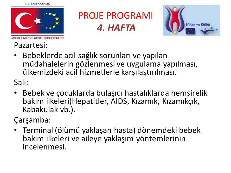 PROJE PROGRAMI 4. HAFTA Pazartesi: Bebeklerde acil sağlık sorunları ve yapılan müdahalelerin gözlenmesi ve uygulama yapılması, ülkemizdeki acil hizmet