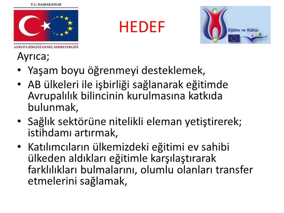 HEDEF Ayrıca; Yaşam boyu öğrenmeyi desteklemek, AB ülkeleri ile işbirliği sağlanarak eğitimde Avrupalılık bilincinin kurulmasına katkıda bulunmak, Sağ