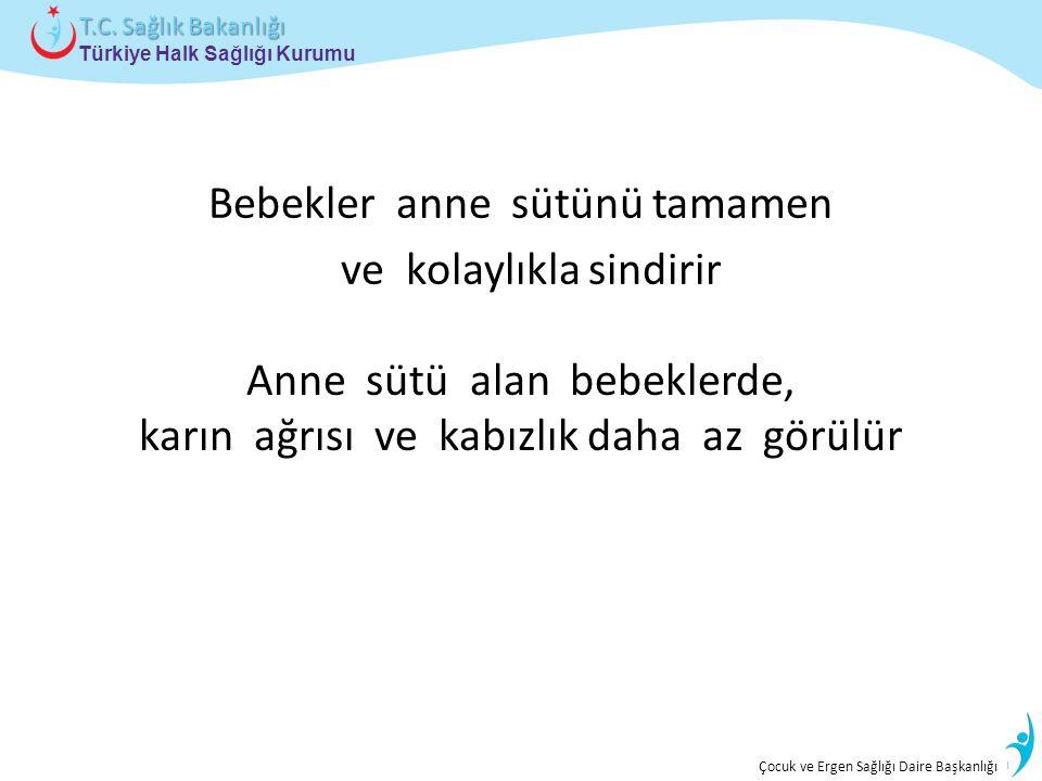 İstatistik ve Bilgi İşlem Daire Başkanlığı Türkiye Halk Sağlığı Kurumu T.C. Sağlık Bakanlığı Çocuk ve Ergen Sağlığı Daire Başkanlığı Bebekler anne süt